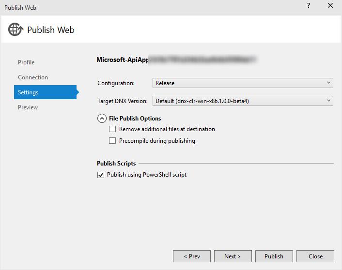 Deploying a ASP NET MVC 6 API as Azure API App in Azure App